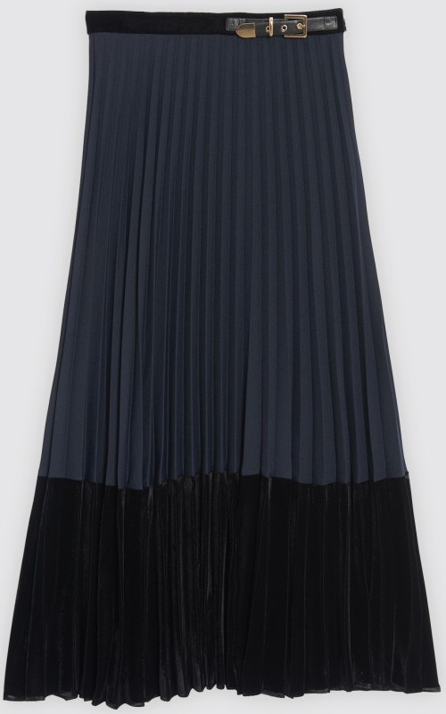 Long Pleated Dual Material Skirt i Deep Navy Sandro