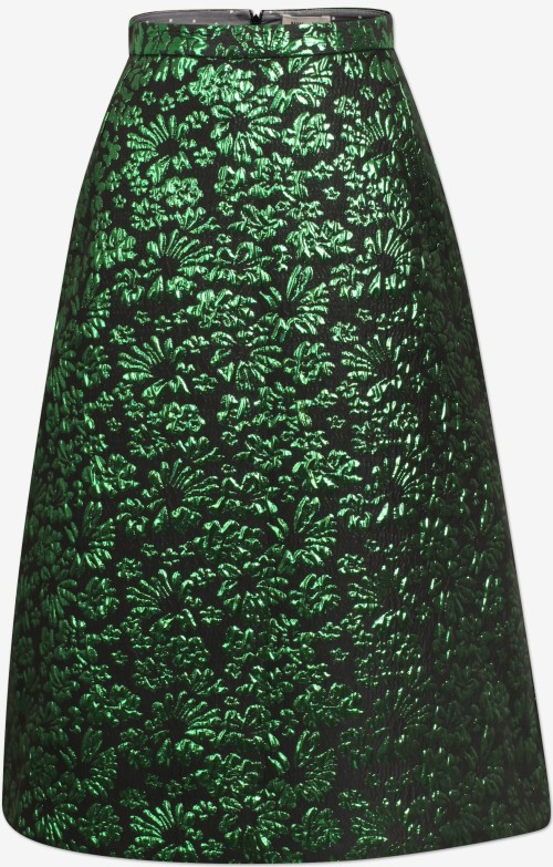 'Salal' Skirt i Green Lurex Flower Baum und Pferdgarten