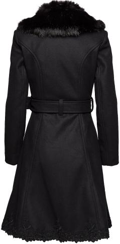 'Nadine_ Coat Wool i Black Black Fur Ida Sjöstedt bak
