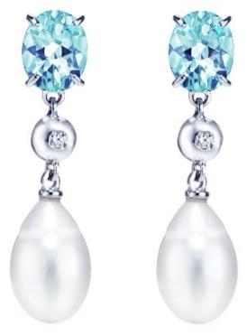 Aquamarine Diamond Pearl Earringsfrån Emma Engelbert