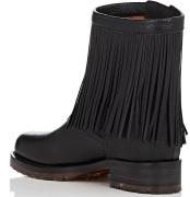 Fringe Leather Moto Boots i Black Valentino Garavani bak