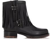 Fringe Leather Moto Boots i Black Valentino Garavani sida