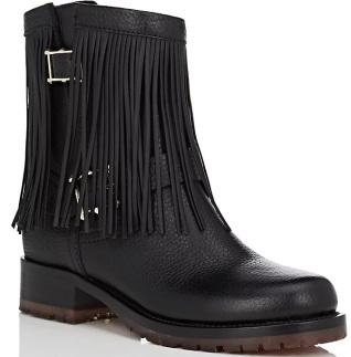 Fringe Leather Moto Boots i Black Valentino Garavani snett