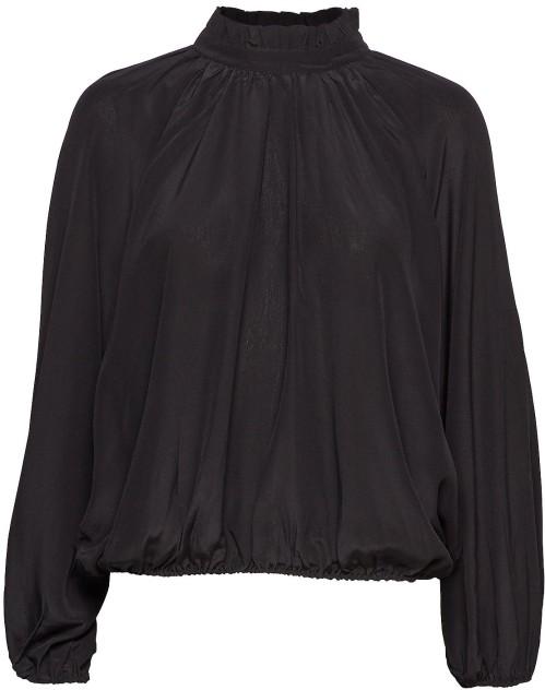 'Groa' Silk Blouse i Black Rodebjer