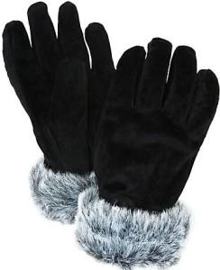 Suede Faux Fur Trim Thermal Gloves i Black John Lewis