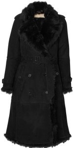 'Tolladine' Shearling Trench Coat i Black Burberry