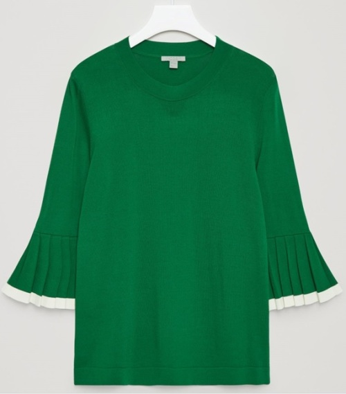 Pleated Sleeve Jumper i Bottle Green COS
