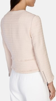 karen millen pink-fringed tweed jacket bak