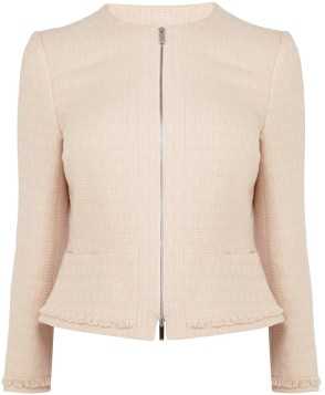 karen millen pink fringed tweed jacket fram