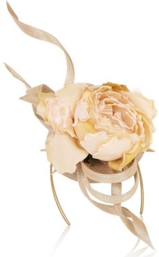 Buntal scroll and rose-embellished parisisal headpiece 1