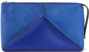 'Cavendish' Faux Suede and Faux Leather Shoulder Bag i Blue från Stella McCartney fram