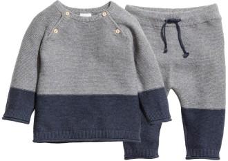 Rätstickad tröja och byxa i Mörkblå Grå H&M