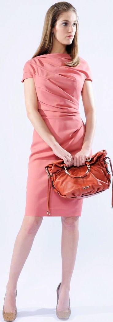 Short Sleeve Ruched Sheath Dress i Rose Escada