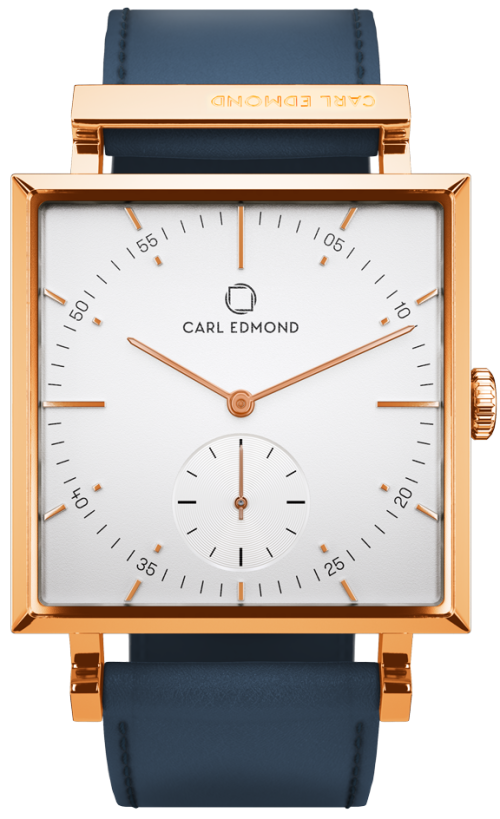 Granit White Deluxe i Rose Gold och Blue Leather Carl Edmond.png