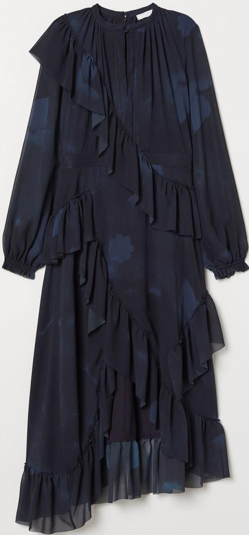 Klänning med volanger i Mörkblå Mönstrad H&M Conscious