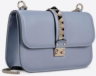 Valentino Rockstud Blue Leather Flap Shoulder Bag