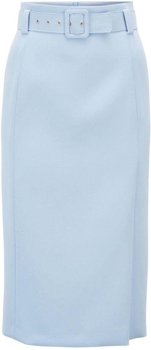 'Vrima' Belted Pencil Skirt i Blue Hugo Boss
