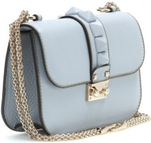 Lock Leather Shoulder Bag i Powder Blue Valentino