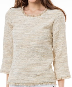 'Breanne' Tweed Top i Beige Veronica Virta