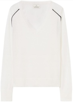 Diamond G Merino V-Neck i Nature White GANT fram