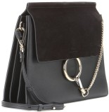 'Faye' Leather and Suede Shoulder Bag i Black Chloé sida