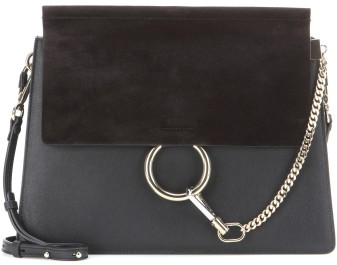 'Faye' Leather and Suede Shoulder Bag i Black Chloé