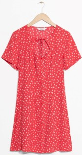 Mini Floral Print Dress i Red & Other Stories singel
