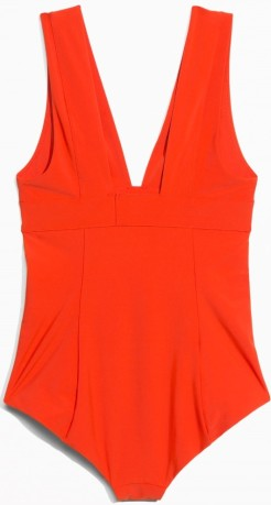 V-Neck Swimsuit i Red & Other Stories bak