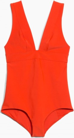 V-Neck Swimsuit i Red & Other Stories fram