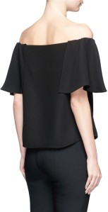 Ruffle Off-Shoulder Crepe Top i Black Valentino bak