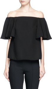 Ruffle Off-Shoulder Crepe Top i Black Valentino fram