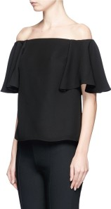 Ruffle Off-Shoulder Crepe Top i Black Valentino sida