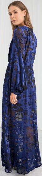 Sheer Velvet Maxi Dress i Blue Black & Other Stories bak