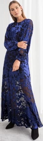 Sheer Velvet Maxi Dress i Blue Black & Other Stories fram
