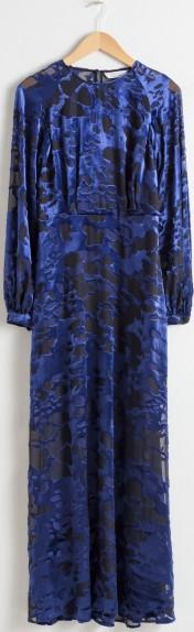 Sheer Velvet Maxi Dress i Blue Black & Other Stories