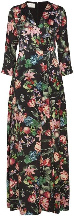 'Columbine' Maxi Dress i Black Blossom fram By Malina