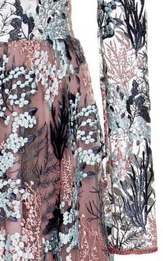 'Jeslyn' Embroidered Illusion Gown närbild Alexis