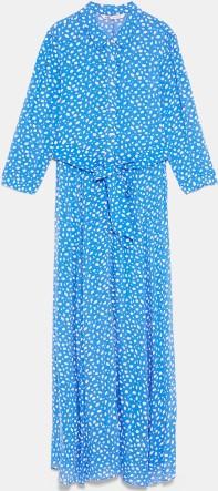 Lång mönstrad Klänning i Blå Zara