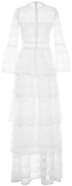 Liliane Long Dressi White Embroidery Alexis bak