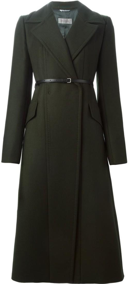 Long Belted Coat i Green Sportmax