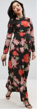 Maternity Maxi Dress with Long Sleeve i Floral Print ASOS fram (1)