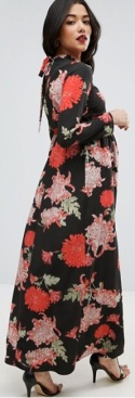 Maternity Maxi Dress with Long Sleeve i Floral Print ASOS fram (2)