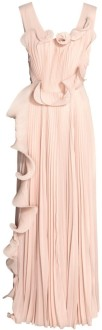 Plisserad långklänning i Puderbeige H&M Conscious Exclusive fram